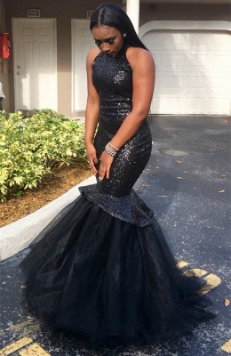 Black Sexy Sleeveless Sequins Mermaid High-Neck Yulle Gorgeous Prom Dress_3