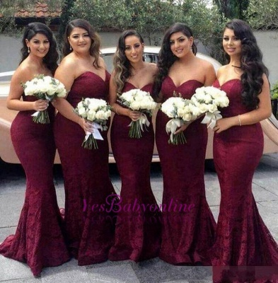 Burgundy Long Sweetheart-Neck Lace Mermaid Bridesmaid Dress_1