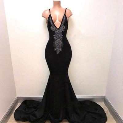 Mermaid Deep V-Neck Evening Dresses | Spaghetti Straps Lace Prom Dresses_3