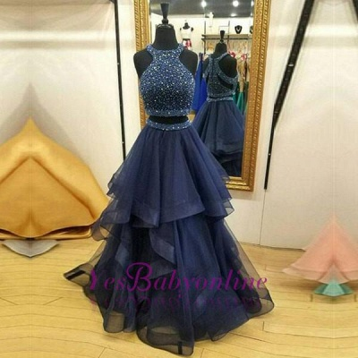 Sleeveless Crystals Modest Two-Piece Jewel Zipper Ruffles Prom Dress_1