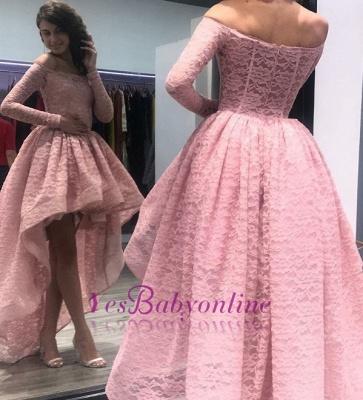 Hi-Lo Zipper Long-Sleeves Bateau Prom Dress_1