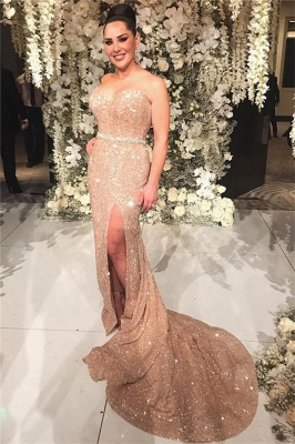 Sexy Beaded Belt Sexy Split  Champagne Gold Sequins Prom Dresses_3