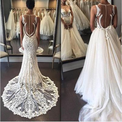 Sleeveless Lace Zipper Exquisite Illusion Detachable-Train Wedding Dress_3