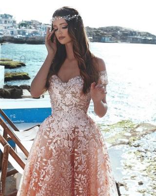 Exquisite A-Line Floral Prom Dresses   Beaded Appliques Off-The-Shoulder Evening Dresses_3