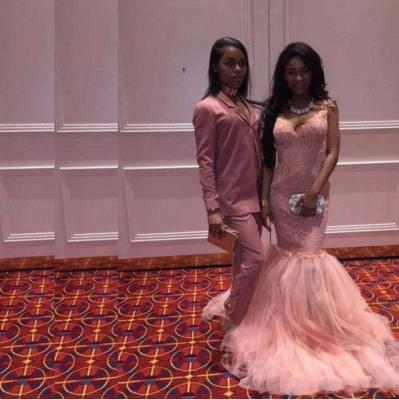 Straps Long Pink Lace Sleeveless Mermaid V-Neck Prom Dresses_5