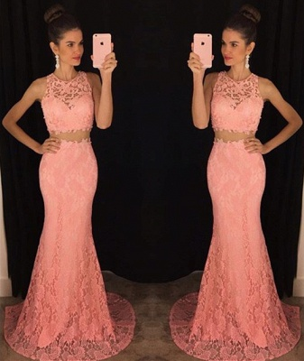 Elegant Two Pieces Lace Prom Dresses 2019 Mermaid Sweep Train Evening Dresses_3