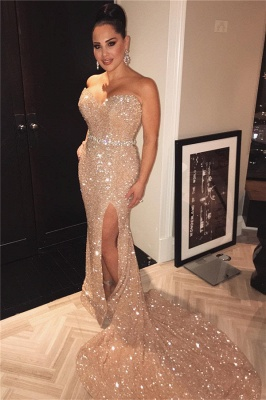 Sexy Beaded Belt Sexy Split  Champagne Gold Sequins Prom Dresses_1