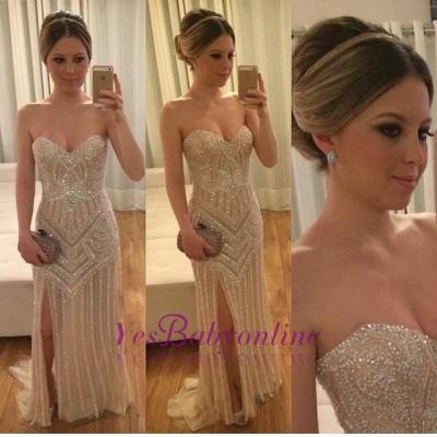 Sleeveless Sweetheart Split Beadings Stunning Prom Dress_1