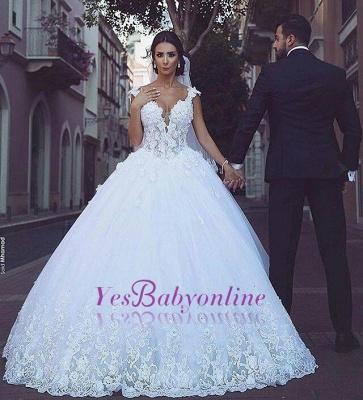 Glamorous V-Neck Sleeveless Appliques Tulle Ball Gown Wedding Dress_1