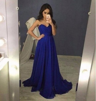 2019 Blue Sweetheart A-Line  Long Prom Dresses_3
