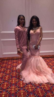 Straps Long Pink Lace Sleeveless Mermaid V-Neck Prom Dresses_3