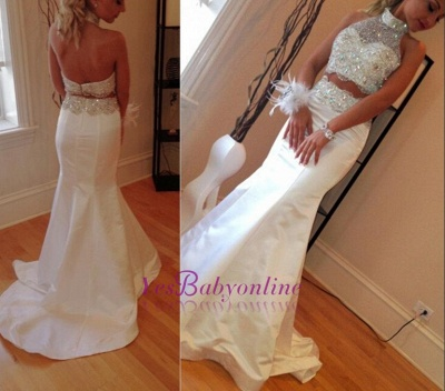 Gorgeous Crystals Zipper Mermaid Sleeveless High-Neck Two-Piece Sweep-Train Prom Dress_1