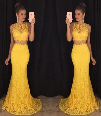 Elegant Two Pieces Lace Prom Dresses 2019 Mermaid Sweep Train Evening Dresses_4