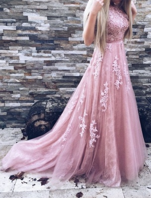 High-Neck Floor-Length Gorgeous Lace A-Line Pink Prom Dresses_4