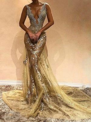 Glamorous Straps Sleeveless Mermaid Evening Gown   Beads Long Evening Dress_1