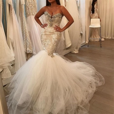 Tulle Sexy  Mermaid Wedding Dresses | Lace Sweetheart Crystal Bridal Gowns_3