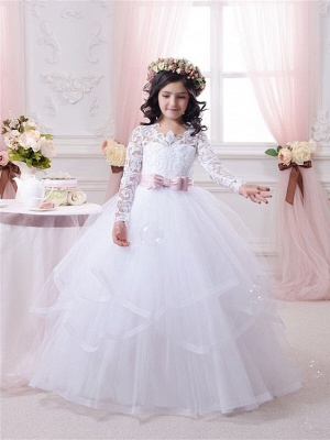 Ball-Gown Lace-Appliques Long-Sleeves Flower-Girl-Dresses_2