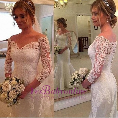 3/4-Length-Sleeves Off-the-shoulder Mermaid Button Wedding Dress_1