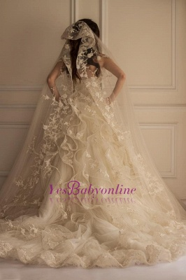 Beautiful Appliques Lace Off-the-shoulder Tulle Wedding Dress_1