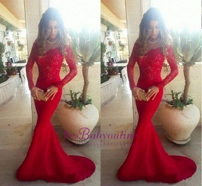 the Lace Evening Long Sleeves Shoulder Red Gowns Mermaid Long Off 2019 Sexy Prom Dresses_1