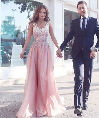 Pink Sleeveless Appliques  Floor-Length Evening Gowns_3