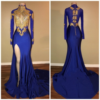 Gorgeous Royal Blue Prom Dresses | Gold Appliques Side Slit Mermaid Evening Dresses_3