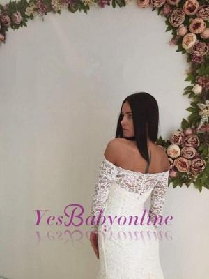 Mermaid Off-the-shoulder Stylish Lace Sweep Train Long Sleeves Wedding Dress_1