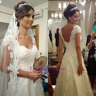 Modern Short-sleeves Zipper A-line Straps Lace Wedding Dress_1
