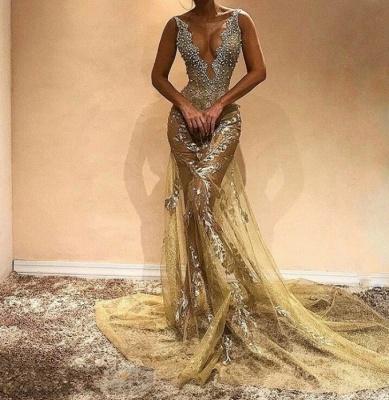 Glamorous Straps Sleeveless Mermaid Evening Gown   Beads Long Evening Dress_3