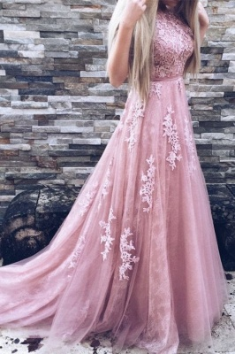 High-Neck Floor-Length Gorgeous Lace A-Line Pink Prom Dresses_3