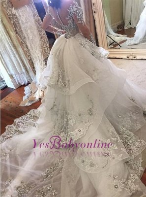 Tulle High-Neck Appliques Detachable-Train Long Sleeves Glamorous Wedding Dresses_1