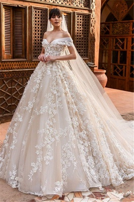 Elegant Off The Shoulder Tulle Wedding Dresses | Puffy Tulle Lace Appliques Bridal Gowns