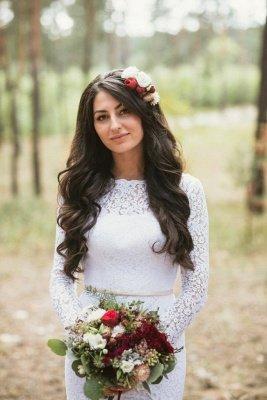 Mermaid Glamorous Fill-Lace Open-Back Long Sleeves Wedding Dress_4