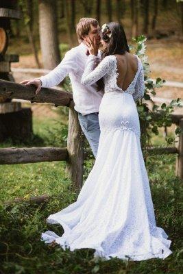 Mermaid Glamorous Fill-Lace Open-Back Long Sleeves Wedding Dress_3