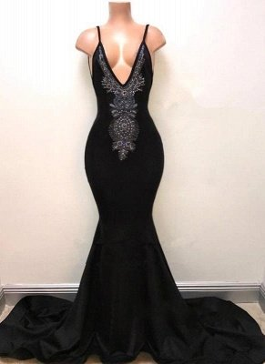 Mermaid Deep V-Neck Evening Dresses | Spaghetti Straps Lace Prom Dresses_1
