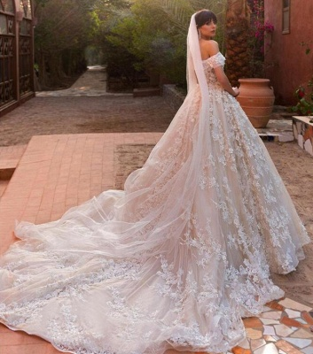 Glamorous Tulle Off The Shoulder Wedding Dresses | Puffy Tulle Lace Appliques Bridal Dresses_3