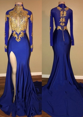 Gorgeous Royal Blue Prom Dresses | Gold Appliques Side Slit Mermaid Evening Dresses_2