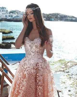 Exquisite A-Line Floral Prom Dresses | Beaded Appliques Off-The-Shoulder Evening Dresses_3