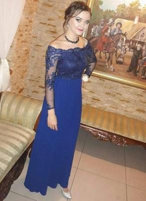 Royal-Blue  Prom Dresses | Long-Sleeves A-Line Evening Dresses_2