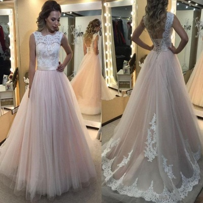 Lace-up Tulle Sleeveless Glamorous Lace A-Line Wedding Dress_3
