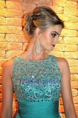 Ruffles Elegant Floor-length Tired Scoop Chiffon Sleeveless A-line Evening Dress_3