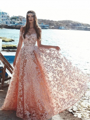 Exquisite A-Line Floral Prom Dresses | Beaded Appliques Off-The-Shoulder Evening Dresses_1
