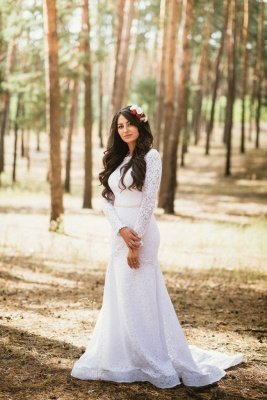 Mermaid Glamorous Fill-Lace Open-Back Long Sleeves Wedding Dress_2