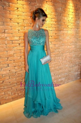Ruffles Elegant Floor-length Tired Scoop Chiffon Sleeveless A-line Evening Dress_1