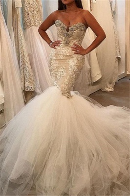 Tulle Sexy  Mermaid Wedding Dresses | Lace Sweetheart Crystal Bridal Gowns