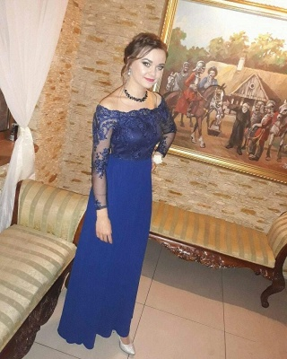 Royal-Blue  Prom Dresses | Long-Sleeves A-Line Evening Dresses_3