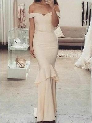 Sleeves Short Off-The-Shoulder Mermaid Elegant Ruffles Bridesmaid Dresses_3
