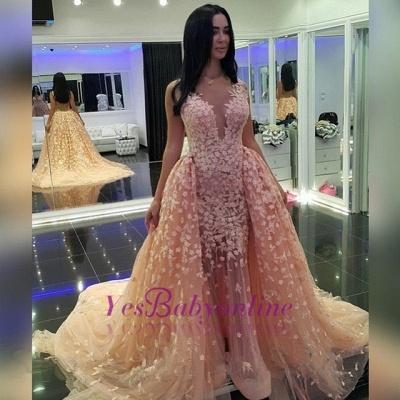 Puffy Sexy Pink Mermaid Detachable-Train Dubai-Muslim Evening Dresses_1