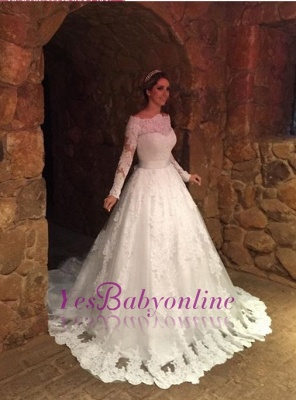 Glamorous A-Line Long Sleevess Off-The-Shoulder Lace-Applique Wedding Dresses_1