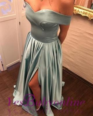 V-Neck Split Off-The-Shoulder Dresses A-Line Side Prom Evening Dresses_1